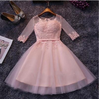 Robe de soirée princesse courte tulle chic | Robe de cocktail princesse manches mi-longues_3