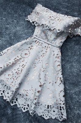 Robe de soirée princesse courte dentelle chic | Robe de cocktail princesse épaules nues_2