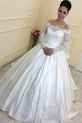Forme Princesse alayage/Pinceau train Epaules nues Taffeta Robes de mariée 2020 avec Dentelle_1