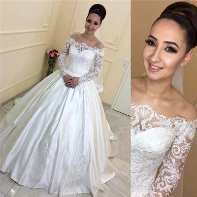 Forme Princesse alayage/Pinceau train Epaules nues Taffeta Robes de mariée 2020 avec Dentelle_2