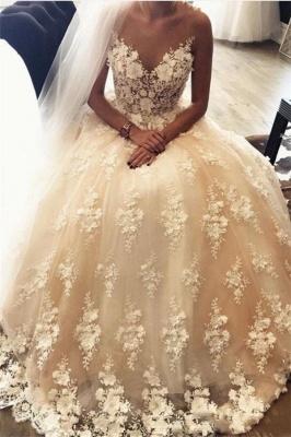 Forme Marquise alayage/Pinceau train Col en cœur Robes de mariée 2021 avec Appliques_1