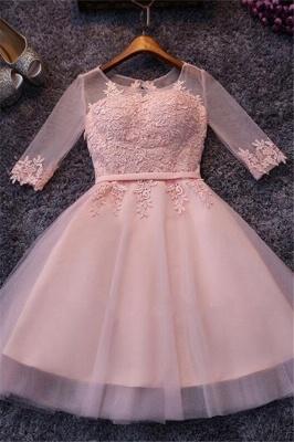 Robe de soirée princesse courte tulle chic | Robe de cocktail princesse manches mi-longues_2