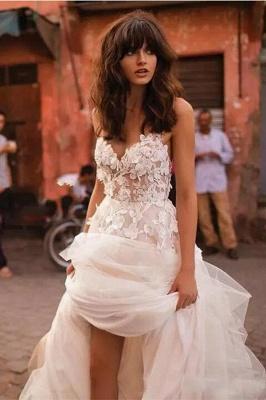 Robe Féerique de Fleurs Forme Princesse Col en V Tulle Traîne Longue Robes de Mariée dentelle avec Appliques_1