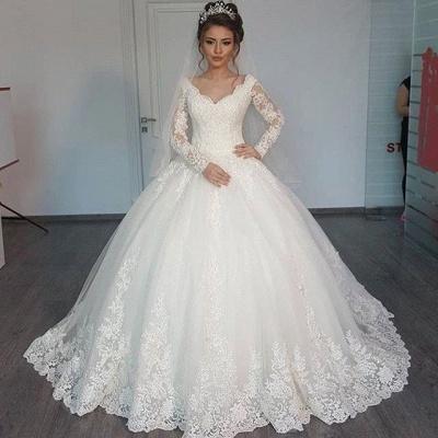 Forme Marquise Col en V Tulle Robes de mariée 2020 avec Appliques MH207_2