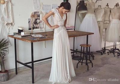 Forme Princesse Longueur ras du sol Col en V Mousseline polyester Robes de mariée 2021 avec Dentelle_3