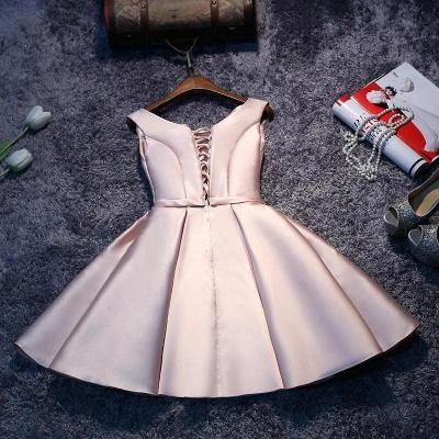 Forme Princesse Court/Mini Robe d'étudiant Satin Pas Cher_3