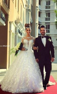 Forme Marquise Traîne moyenne Col U profond Dentelle 2020 Robes de mariée avec Dentelle_1