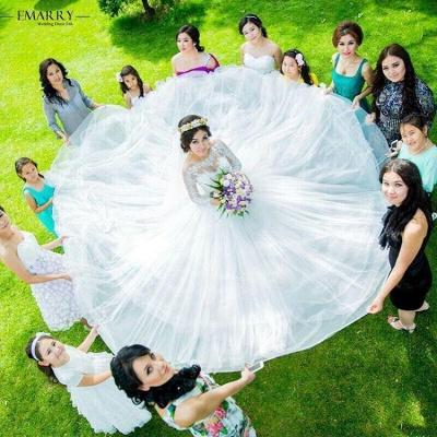 Forme Marquise alayage/Pinceau train Tulle Robes de mariée 2020 avec Dentelle_3