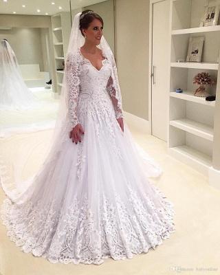 Forme Princesse Traîne moyenne Col en V Tulle Robes de mariée 2021 avec Appliques_3
