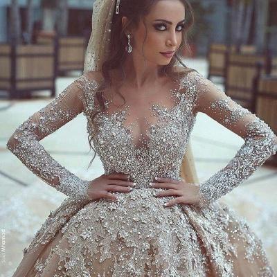 Forme Marquise Traîne mi-longue Col U profond Robes de mariée avec Perle_2