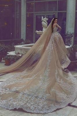 Forme Marquise Traîne mi-longue Col U profond Robes de mariée avec Perle_3