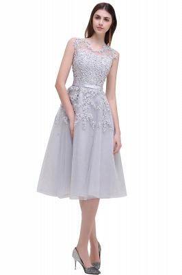 Forme Princesse Longueur Genou Col Rond Sans Manches Robes de soirée 2021 avec Perle Dentelle_6