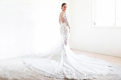 Forme Sirène/Trompette Traîne moyenne Tulle Robes de mariée 2020 avec Appliques_5