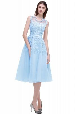 Forme Princesse Longueur Genou Col Rond Sans Manches Robes de soirée 2020 avec Perle Dentelle_5