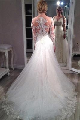 Forme Sirène/Trompette alayage/Pinceau train Tulle Robes de mariée 2021 avec Dentelle_3