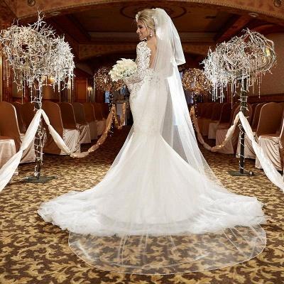 Forme Sirène/Trompette Traîne moyenne Col en V Dentelle Robes de mariée 2021 avec Dentelle_2