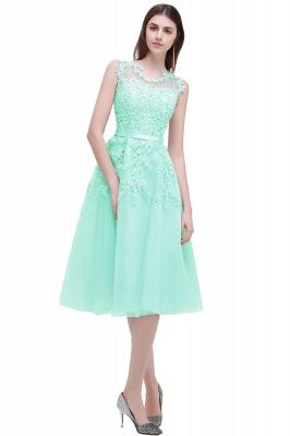 Forme Princesse Longueur Genou Col Rond Sans Manches Robes de soirée 2021 avec Perle Dentelle_7