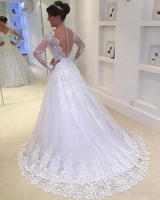 Forme Princesse Traîne moyenne Col en V Tulle Robes de mariée 2021 avec Appliques_2