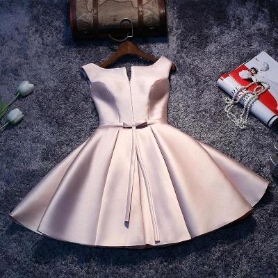 Forme Princesse Court/Mini Robe d'étudiant Satin Pas Cher_4