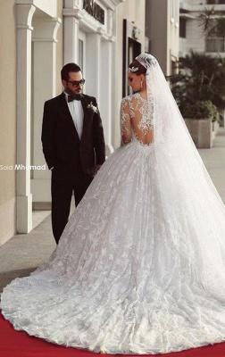 Forme Marquise Traîne moyenne Col U profond Dentelle 2020 Robes de mariée avec Dentelle_5