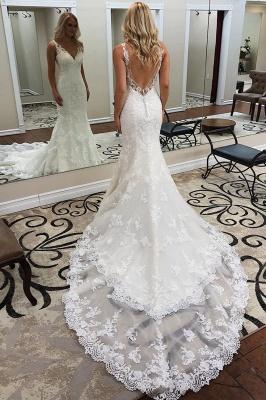 robe de mariée longue sirène trompette col V dos nu en dentelle_1
