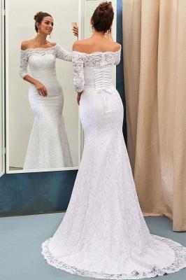 Forme Fourreau alayage/Pinceau train Epaules nues Robes de mariée 2021 avec Dentelle_3