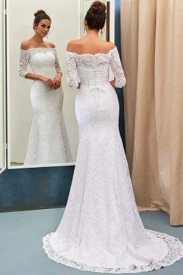 Forme Fourreau alayage/Pinceau train Epaules nues Robes de mariée 2020 avec Dentelle_1