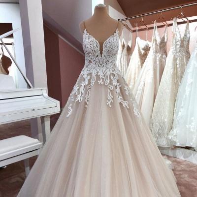 Robes de mariée de créateurs Une ligne | Robe de mariée décolleté V dentelle_2