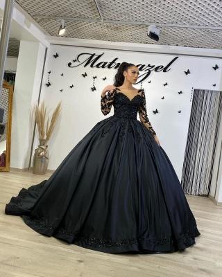Robes de mariée noires à manches | Robes de mariée princesse en dentelle_4