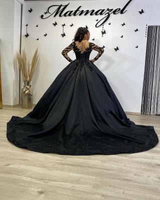 Robes de mariée noires à manches | Robes de mariée princesse en dentelle_3