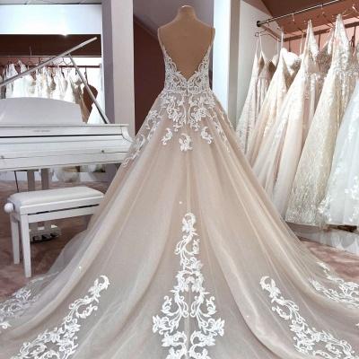 Robes de mariée de créateurs Une ligne | Robe de mariée décolleté V dentelle_3