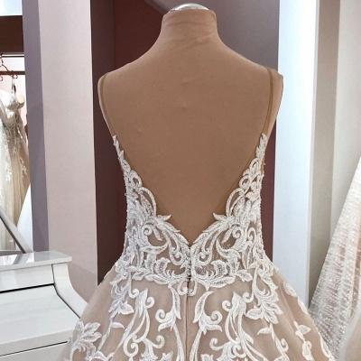 Robes de mariée de créateurs Une ligne | Robe de mariée décolleté V dentelle_4