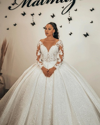 Magnifiques robes de mariée pailletées   Robes de mariée princesse à manches_2