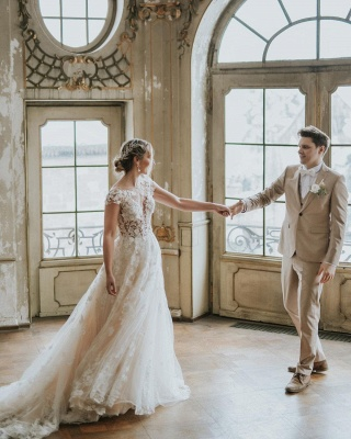 Dentelle de robe de mariée simple | Robes de mariée bohème pas cher_5