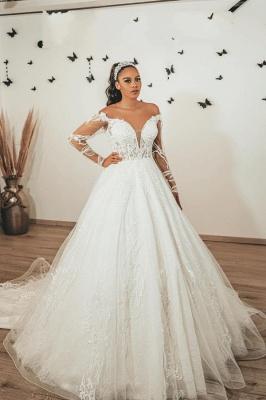 Robes de mariée modernes à manches   Robes de mariée Une ligne en dentelle_1