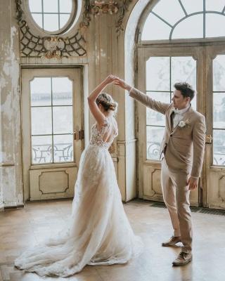 Dentelle de robe de mariée simple | Robes de mariée bohème pas cher_6