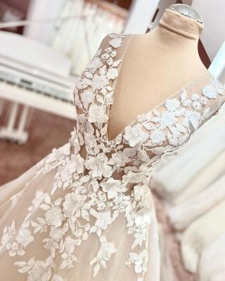 Dentelle de robe de mariée simple | Robe de mariée décolleté V ligne A_3