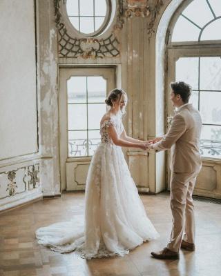 Dentelle de robe de mariée simple | Robes de mariée bohème pas cher_4