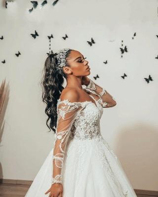 Robes de mariée modernes à manches   Robes de mariée Une ligne en dentelle_3