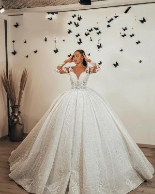 Magnifiques robes de mariée pailletées   Robes de mariée princesse à manches_3
