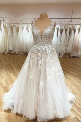Robe de mariée simple décolleté en V | Robes de mariée en dentelle_1