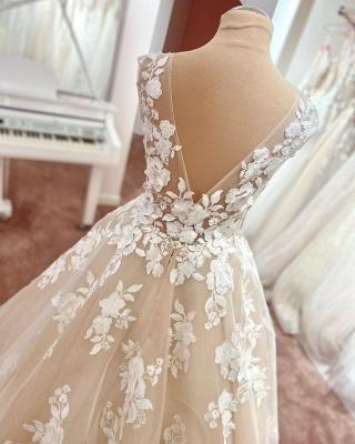 Dentelle de robe de mariée simple | Robe de mariée décolleté V ligne A_2