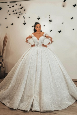 Magnifiques robes de mariée pailletées   Robes de mariée princesse à manches_1