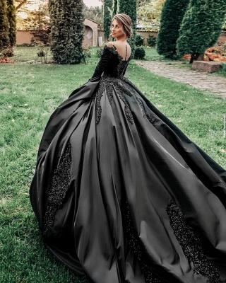 Robes de mariée princesse noir   Robes de mariée à manches_5