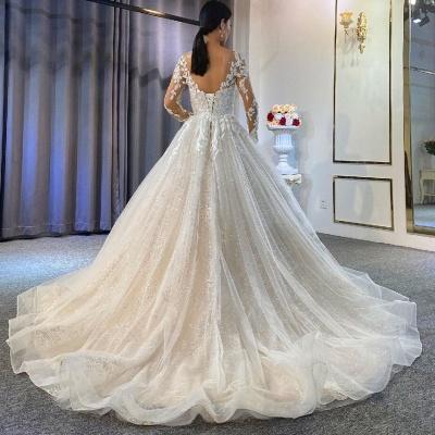 Robes de mariée extravagantes Ligne A | Robes de mariée en dentelle avec manches_3