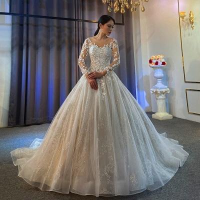 Robes de mariée extravagantes Ligne A | Robes de mariée en dentelle avec manches_2