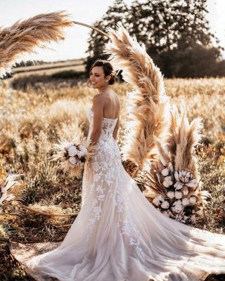 Robes de mariée de créateur sirène   Robe de mariée simple en dentelle_3