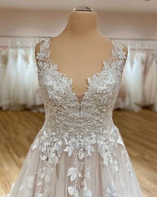Robe de mariée simple décolleté en V | Robes de mariée en dentelle_2