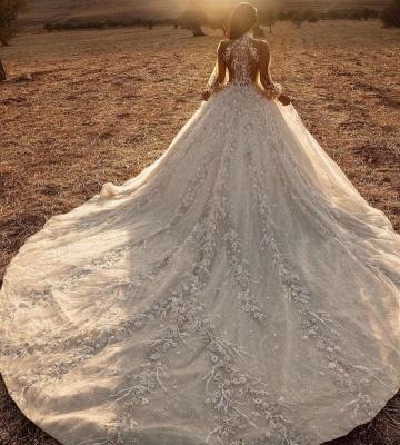 Robes de mariée extravagantes avec dentelle   Robes de mariée manches longues_3