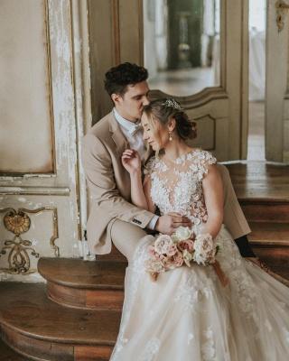 Dentelle de robe de mariée simple | Robes de mariée bohème pas cher_3